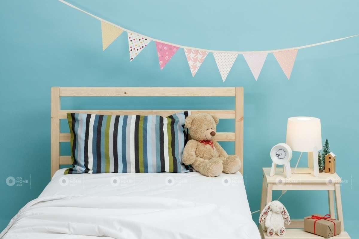 Phòng ngủ màu xanh dành cho trẻ em