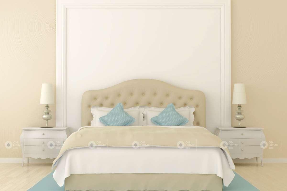 Tường phòng ngủ màu be ấn tượng