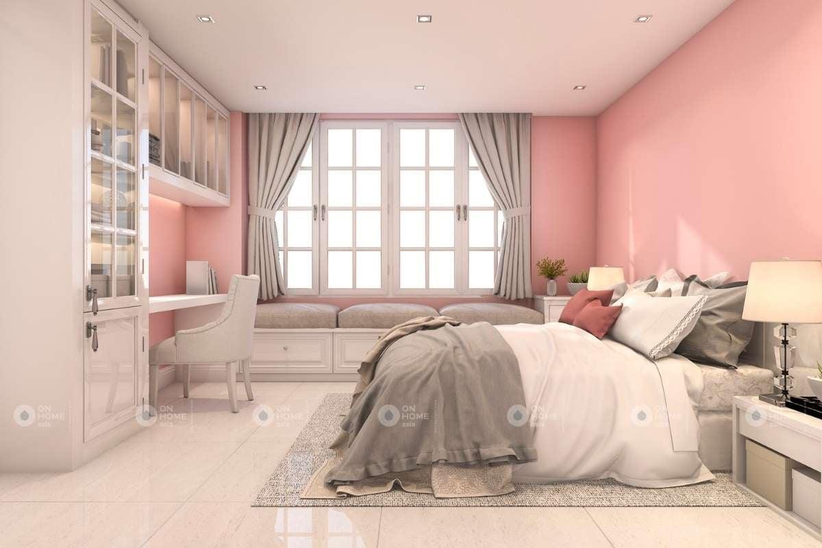 Tường phòng ngủ màu hồng cho bé gái