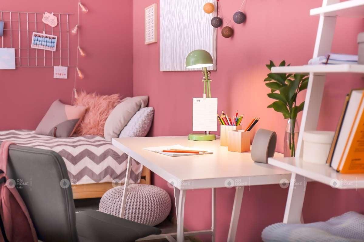 Tường phòng ngủ màu hồng đẹp