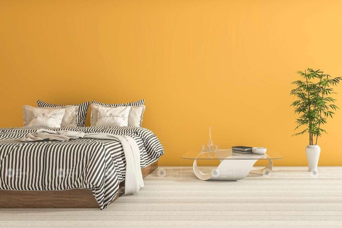 Tường phòng ngủ màu vàng ấn tượng