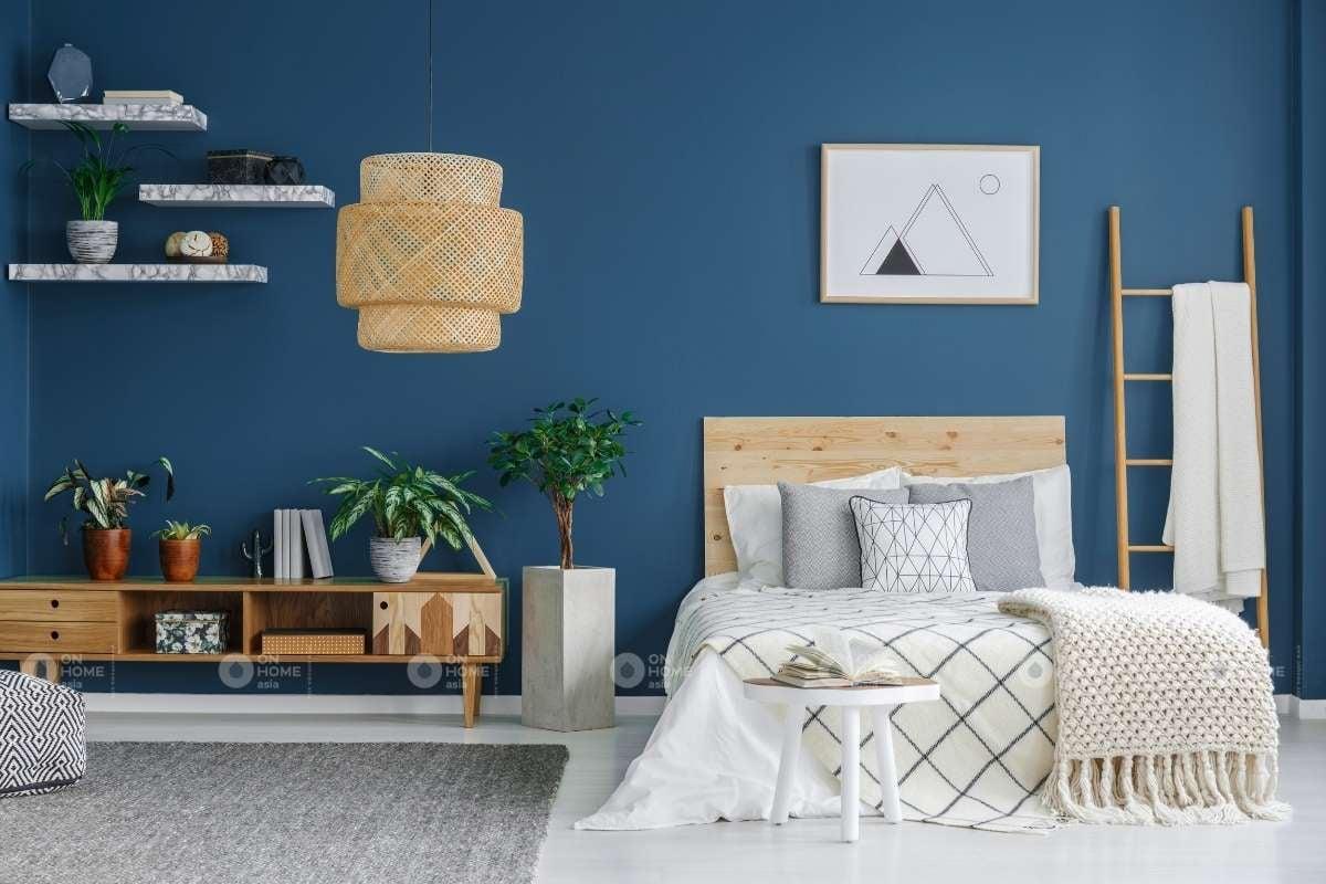 Tường phòng ngủ màu xanh đẹp