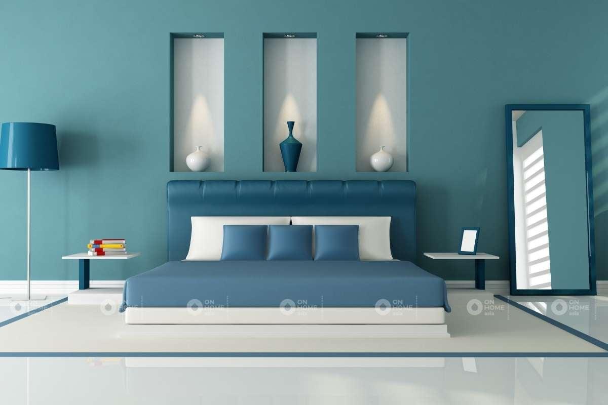 Tường phòng ngủ màu xanh đơn giản