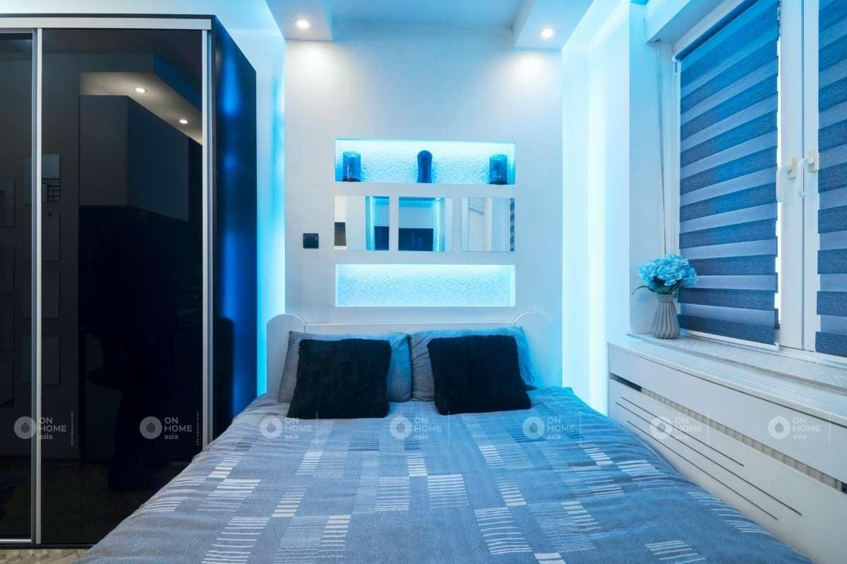 Tường phòng ngủ màu xanh dương nhạt ấn tượng
