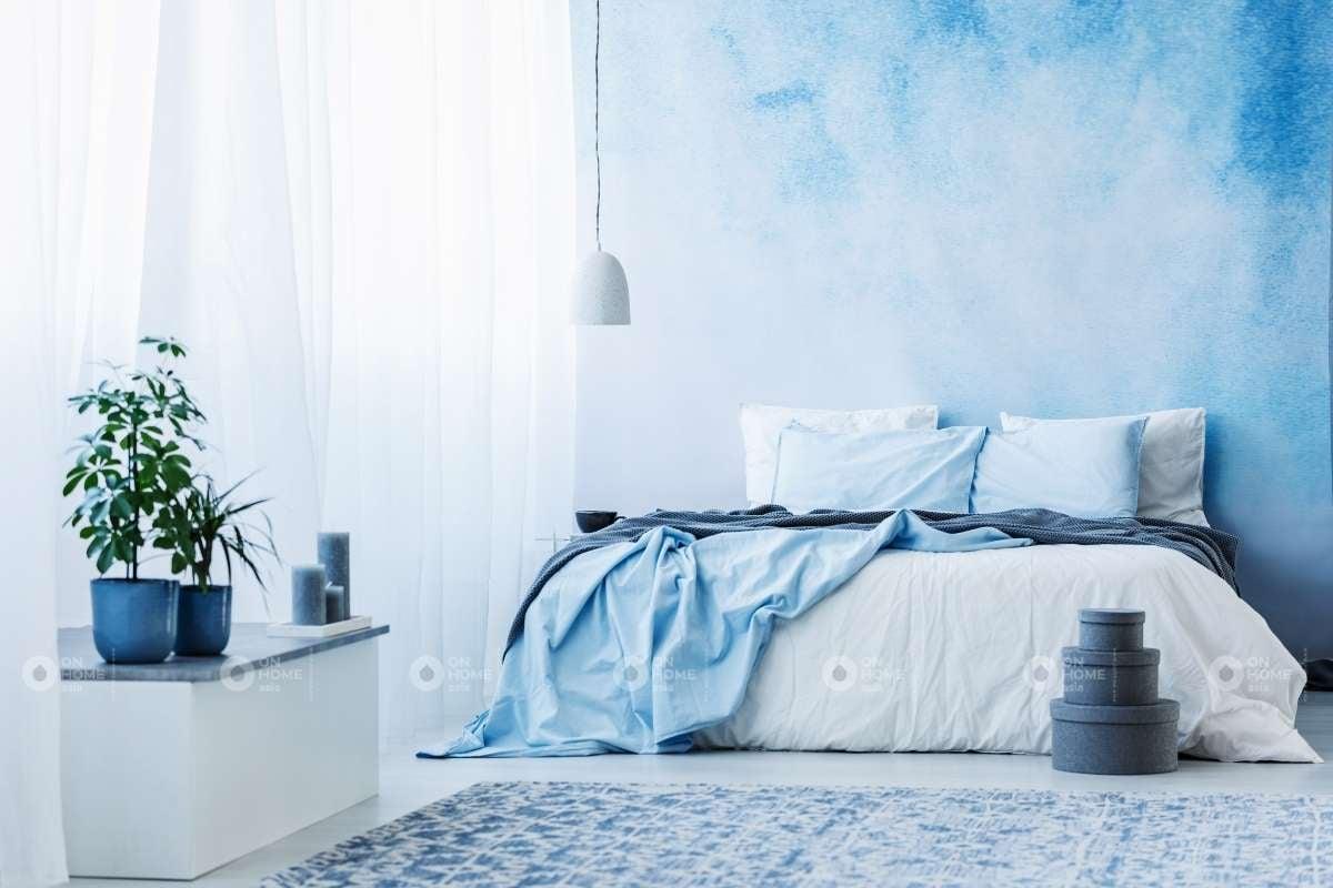 Tường phòng ngủ màu xanh tươi mát