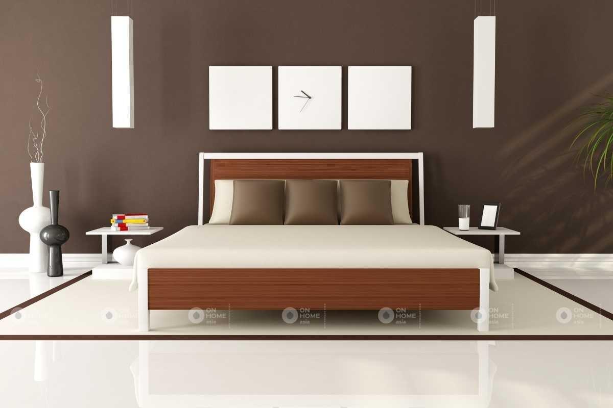 Tường phòng ngủ với ham màu nâu