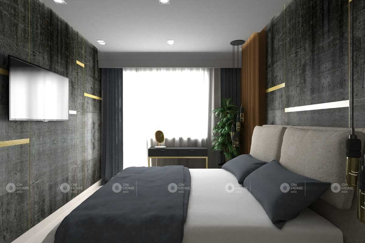 Tường phòng ngủ với gam màu xám đen