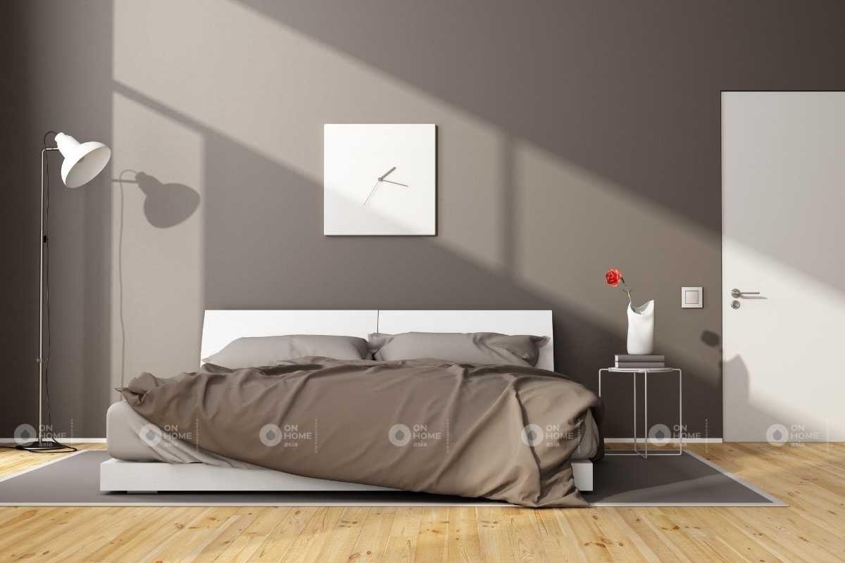 Tường phòng ngủ với gam màu xám đẹp