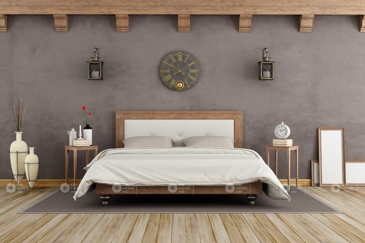 Tường phòng ngủ với gam màu xám