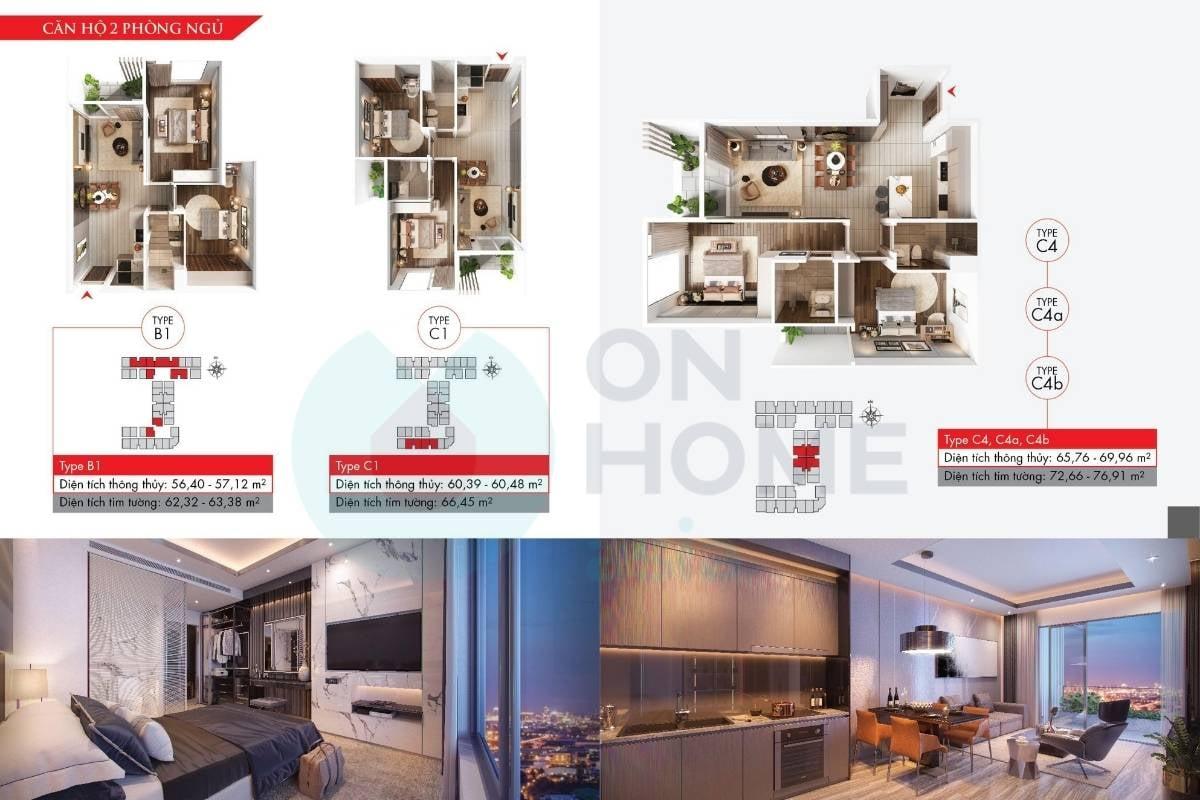 Mặt bằng chung cư 2 phòng ngủ