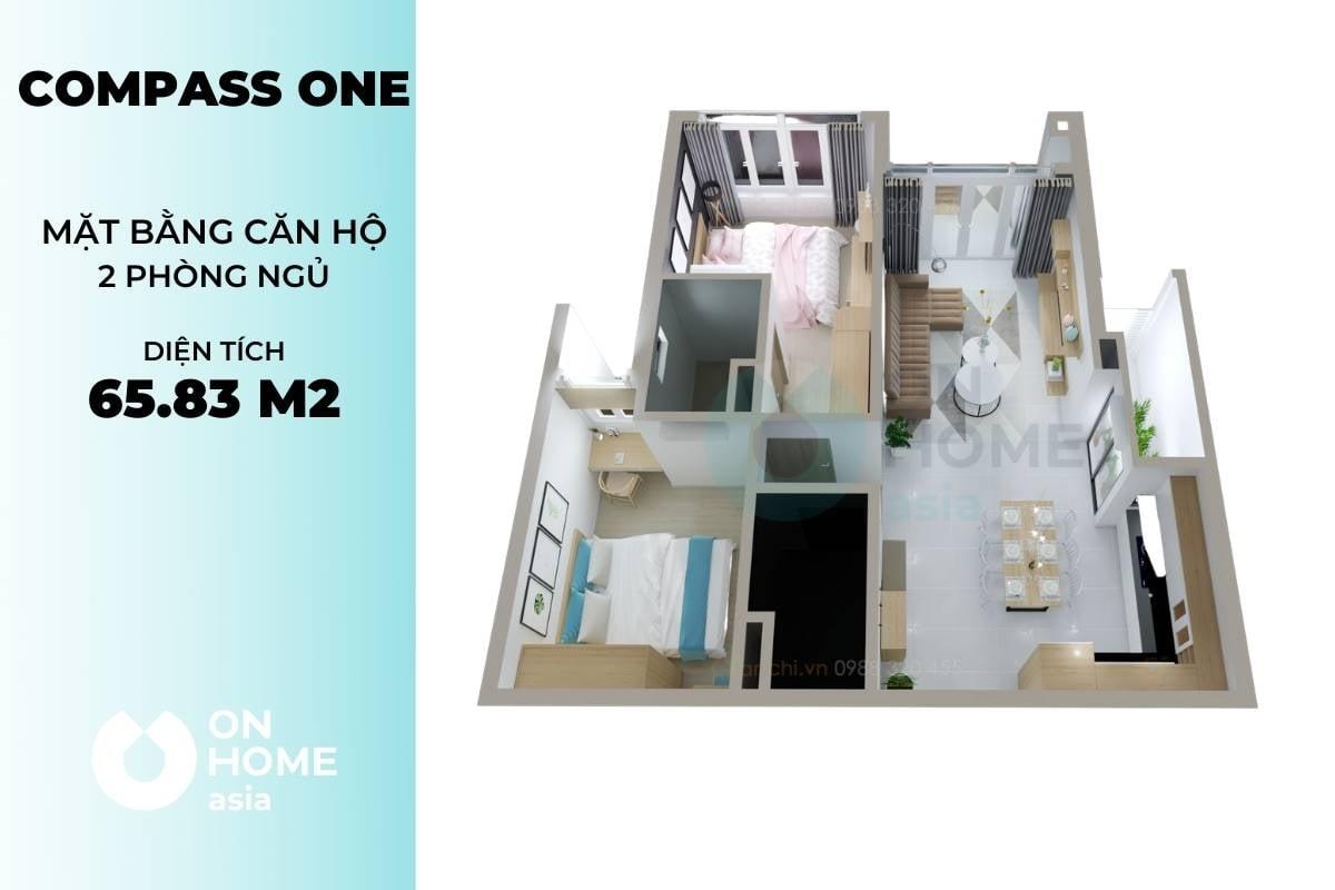 Mặt bằng chung cư đẹp Compass One 2 phòng ngủ