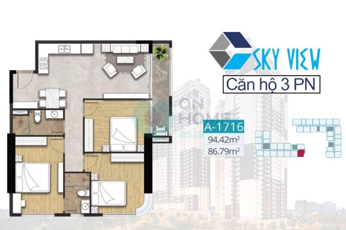 Mặt bằng căn hộ C-Sky View A1716