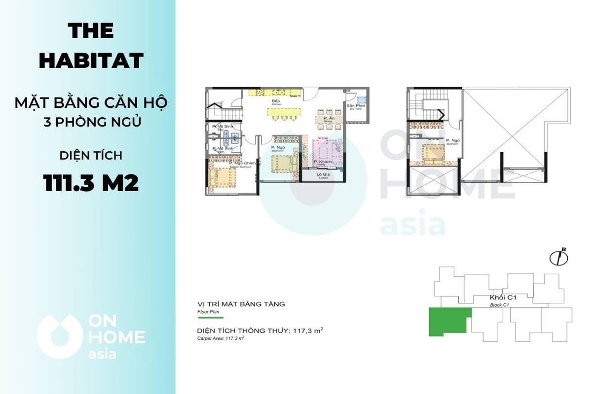 Mặt bằng chung cư 3 phòng ngủ