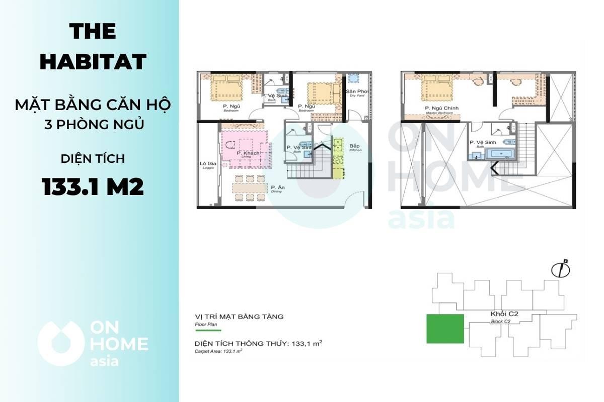 Bố trí mặt bằng căn hộ 3 phòng ngủ