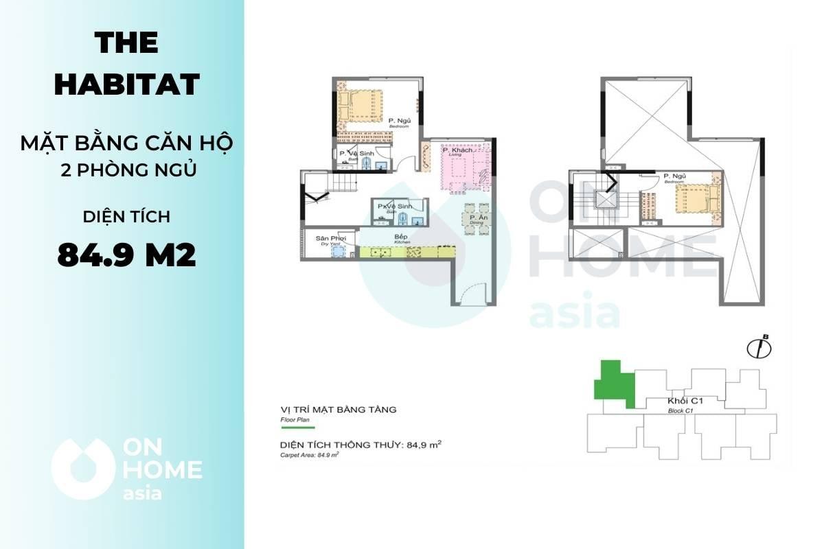 Mặt bằng căn hộ chung cư 2 phòng ngủ