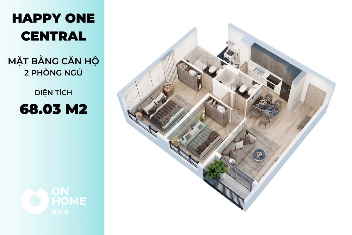 Mặt bằng căn hộ 2 phòng ngủ của dự án Happy One Central