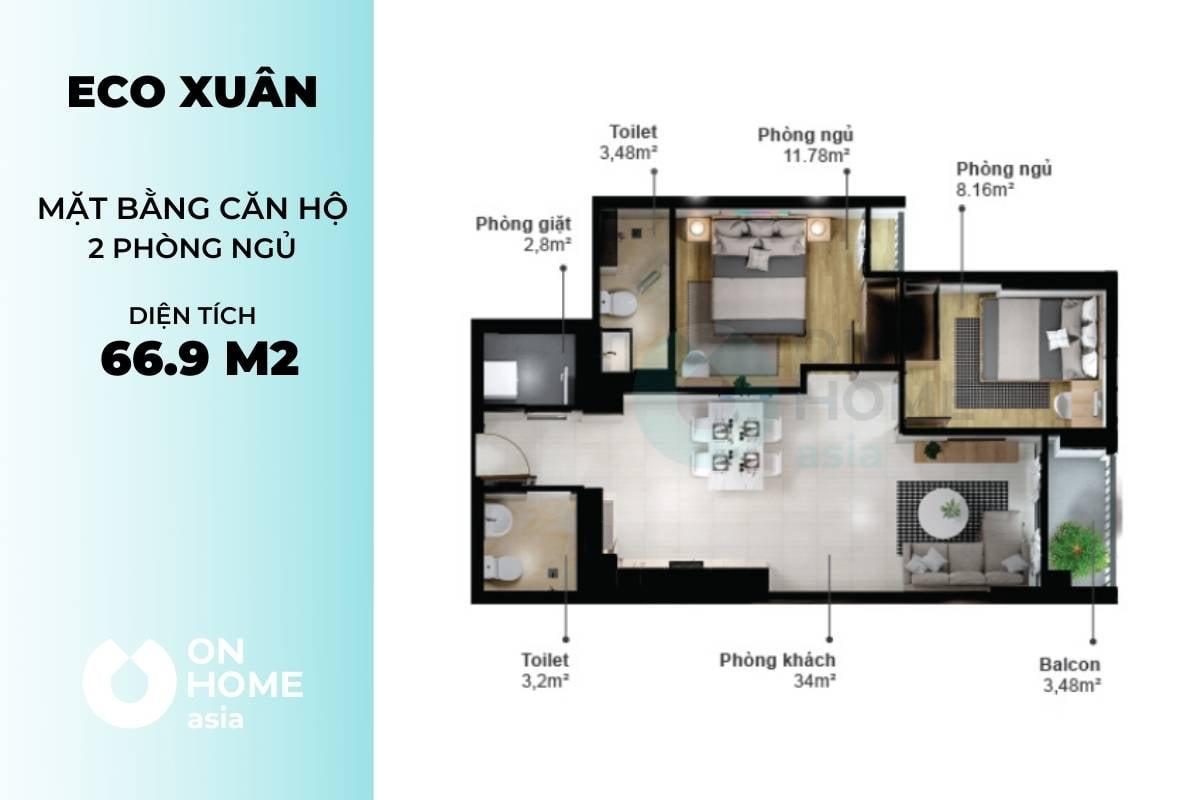 Mặt bằng căn hộ chung cư Eco Xuân 2 phòng ngủ