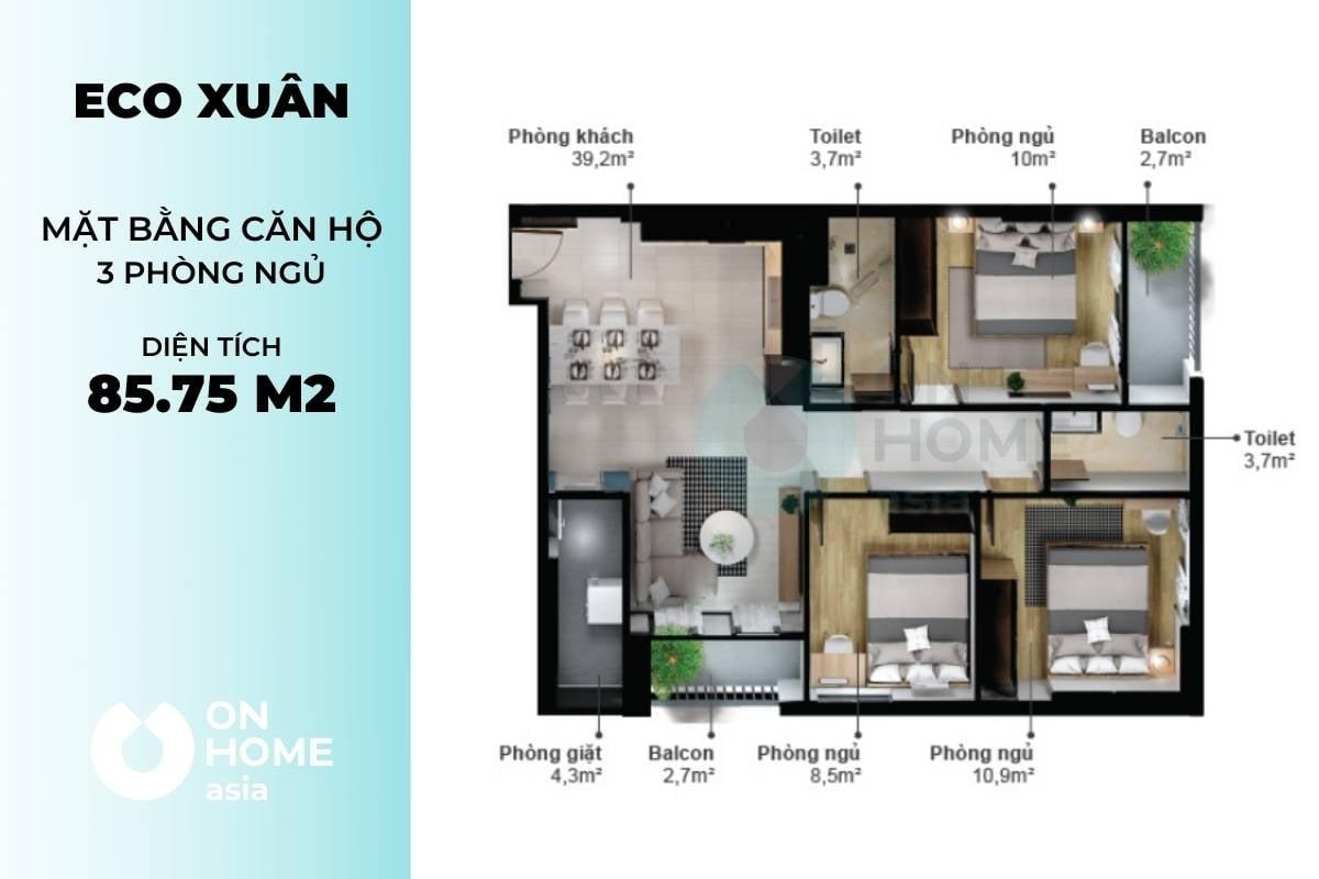 Mặt bằng căn hộ chung cư cao cấp Eco Xuân 3 phòng ngủ