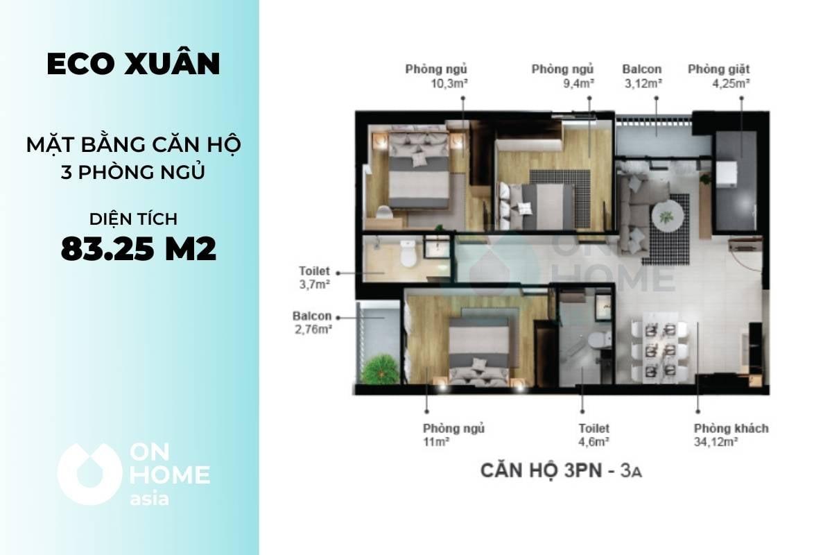 Mặt bằng căn hộ Eco Xuân 3 phòng ngủ