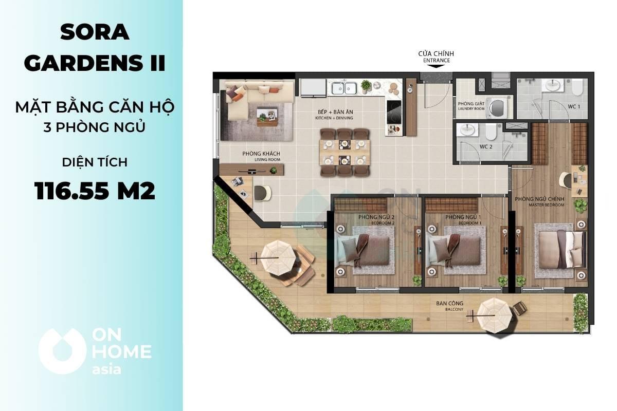Mặt bằng căn hộ A2
