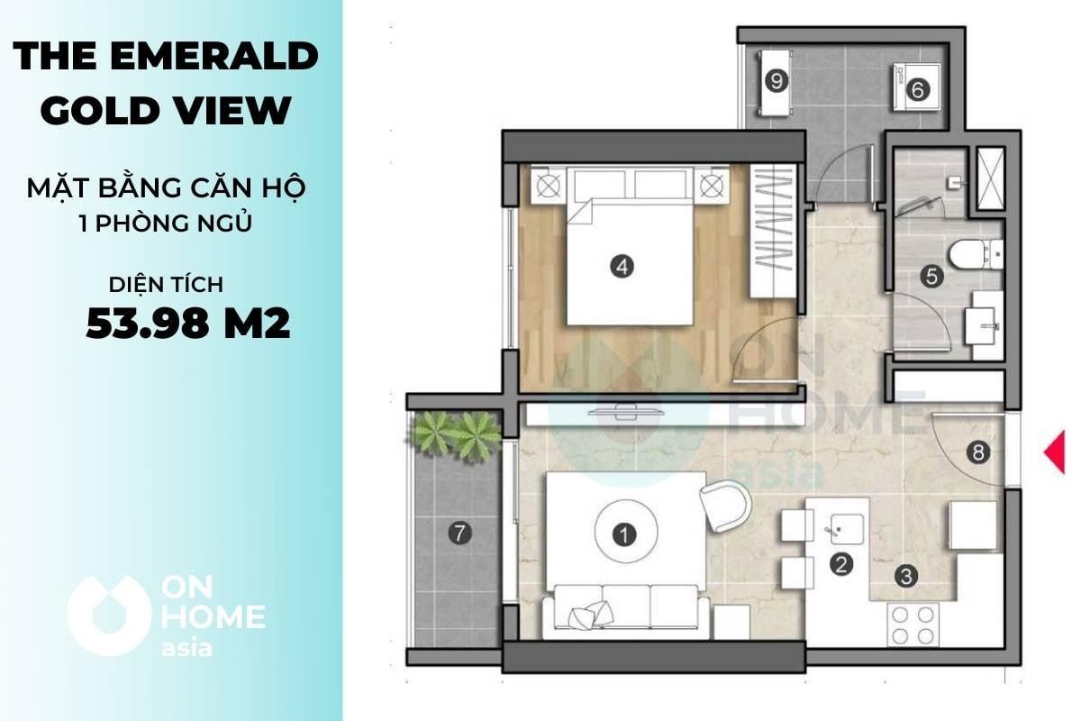 Mặt bằng chung cư The Emerald 1 phòng khách