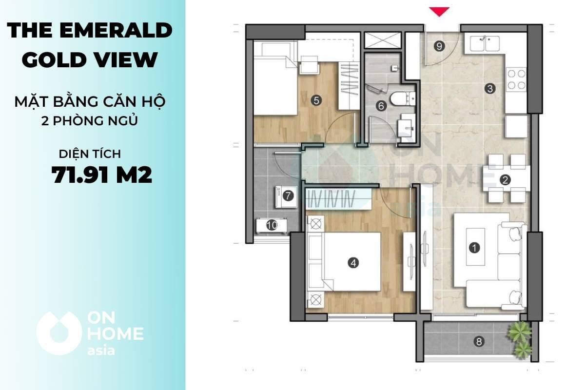 Mặt bằng căn hộ The Emerald 2 phòng ngủ