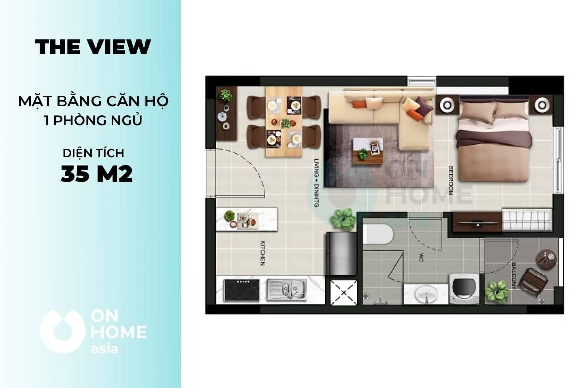 Mặt bằng chung cư The View 1 phòng ngủ