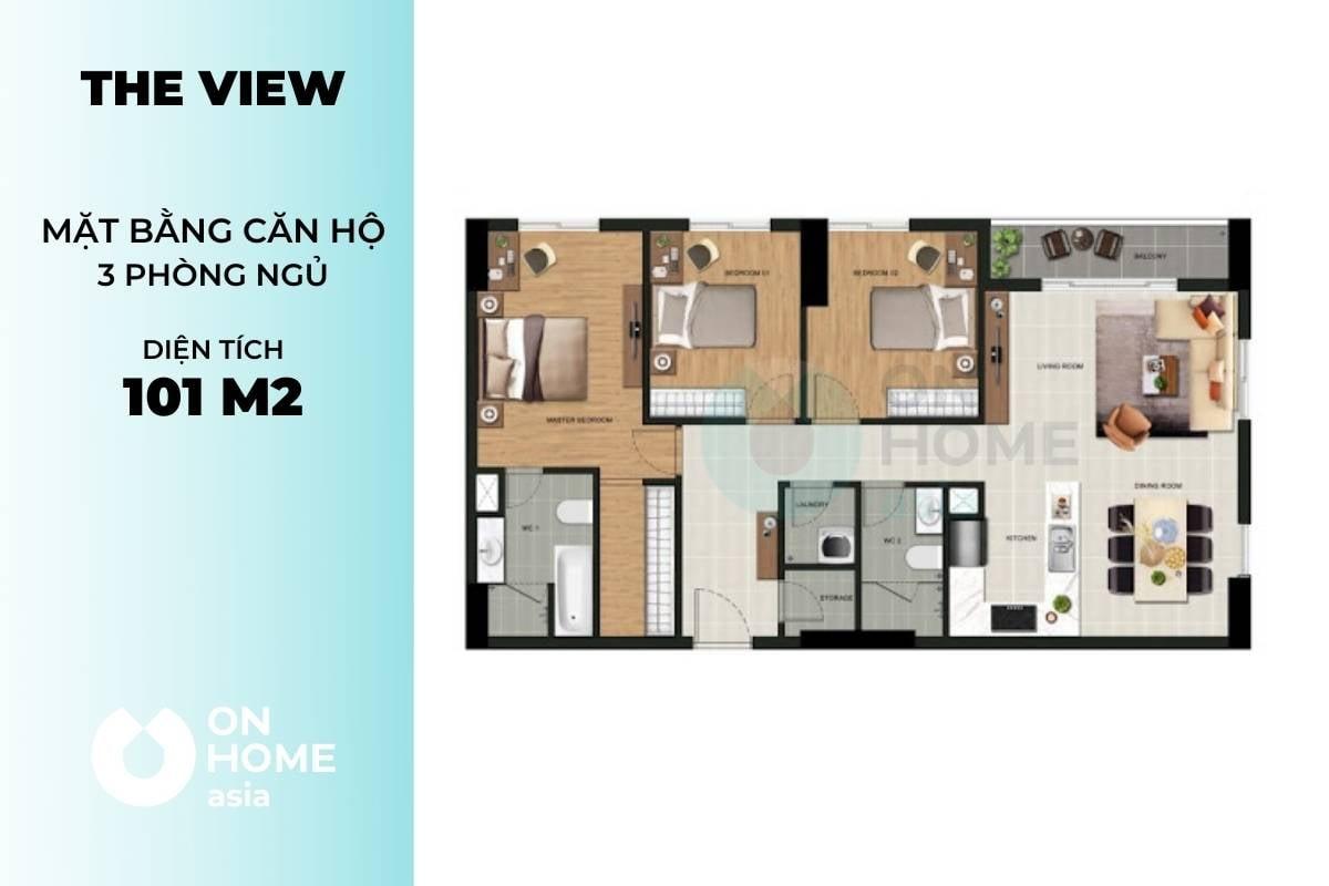 Mặt bằng chung cư The View 3 phòng ngủ