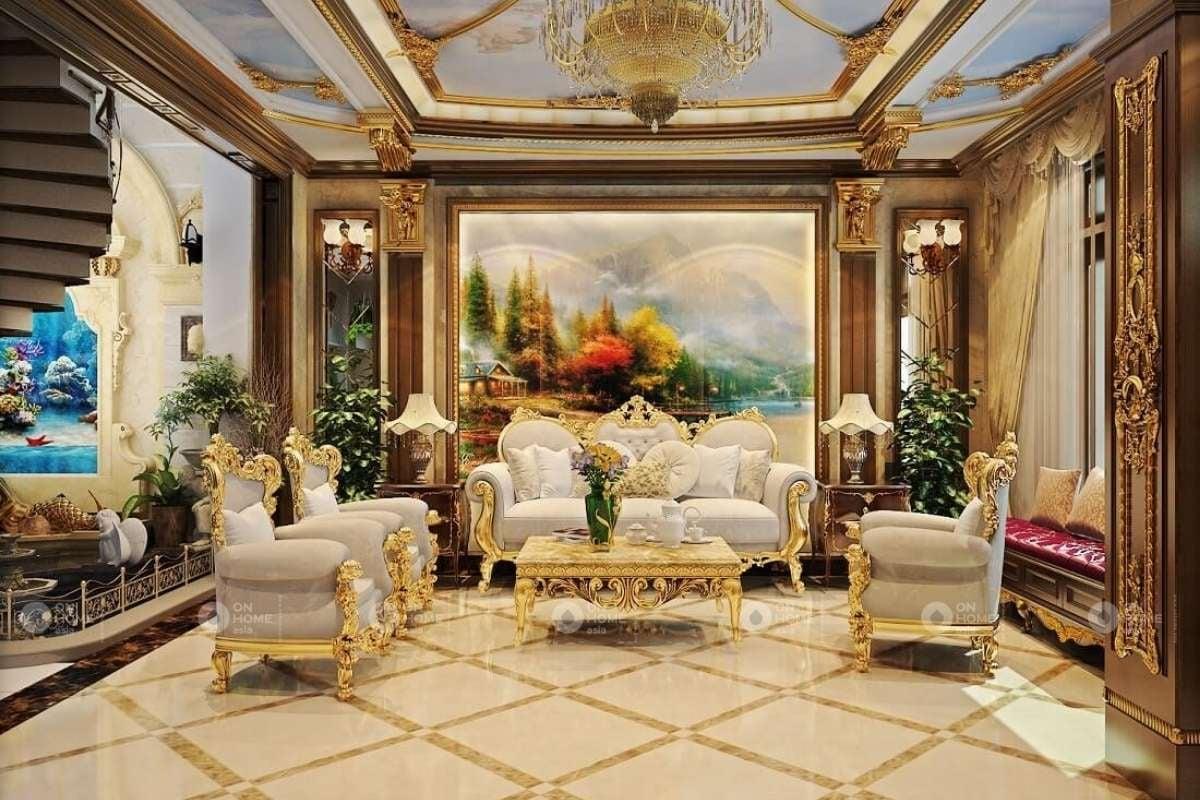 trang trí nội thất phòng khách đẹp với đèn chùm