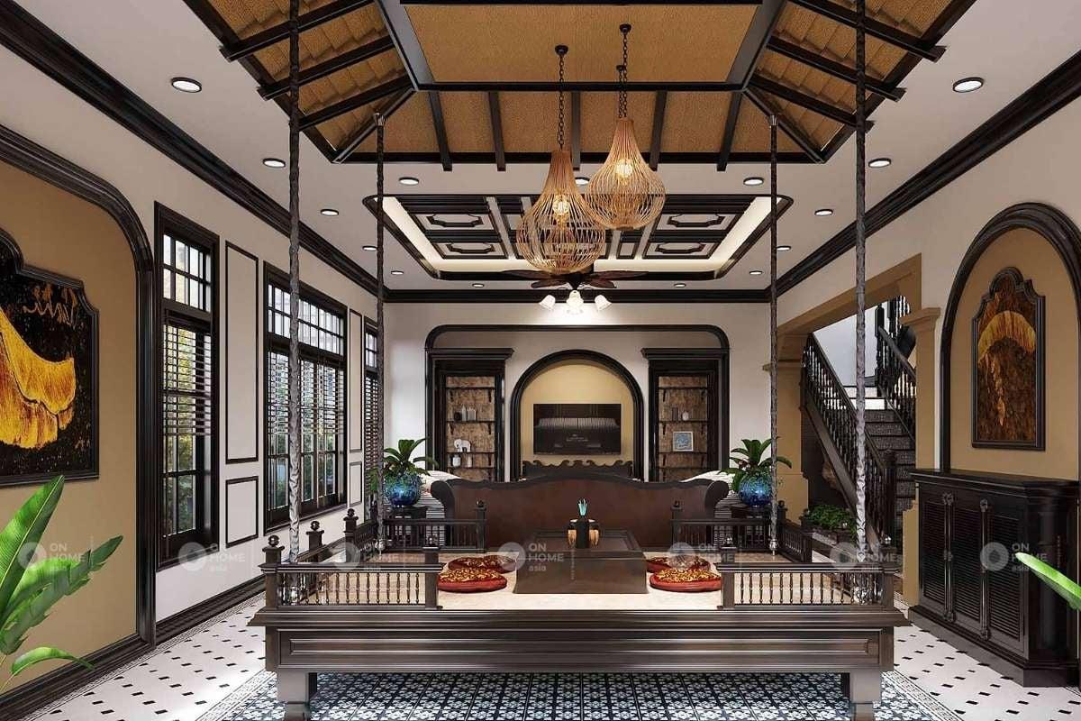 không gian phòng khách cổ điển sang trọng