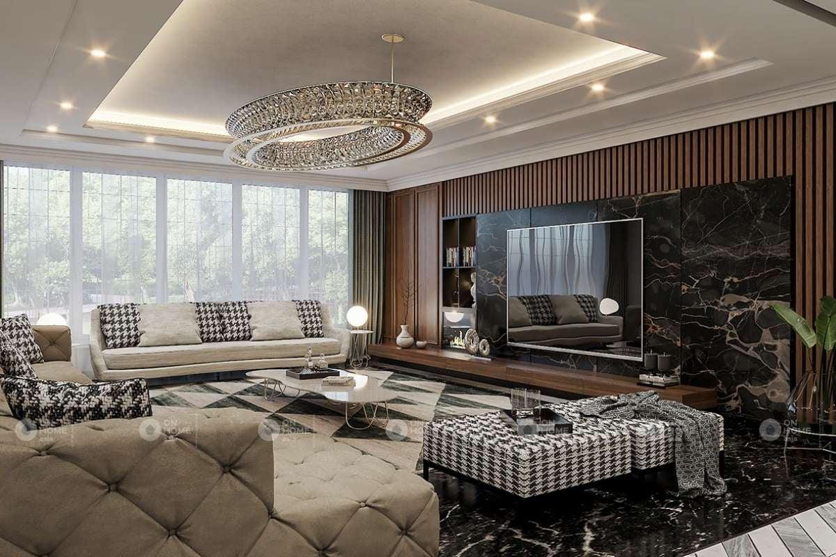 Nội thất phòng khách cổ điển với đèn chùm ấn tượng