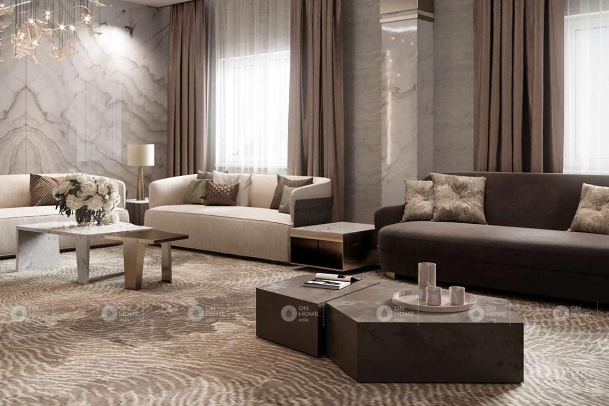 nội thất phòng khách cổ điển Châu Âu
