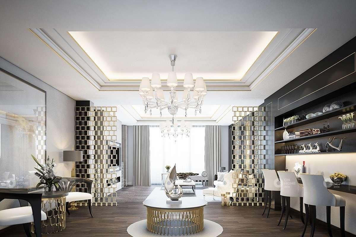 nội thất phòng khách cổ điển Việt Nam đẹp