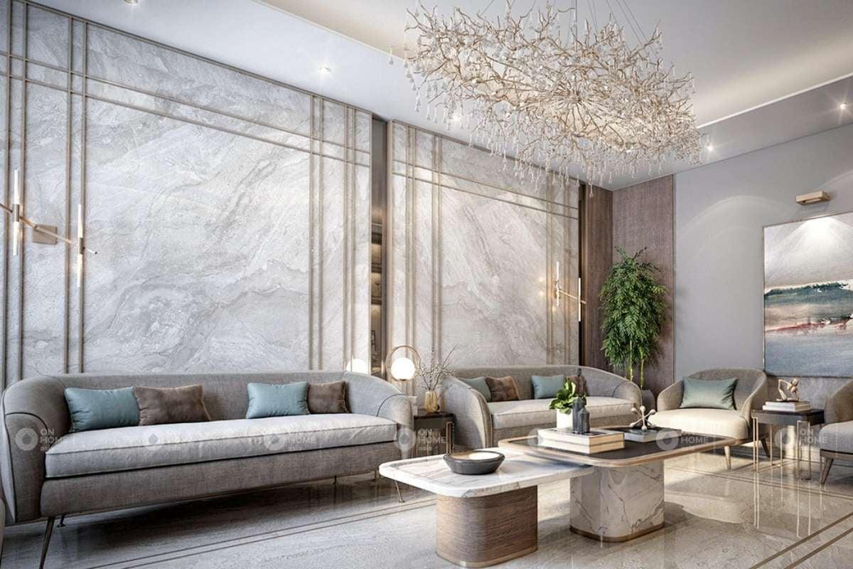 Nội thất phòng khách phong cách cổ điển Châu Á