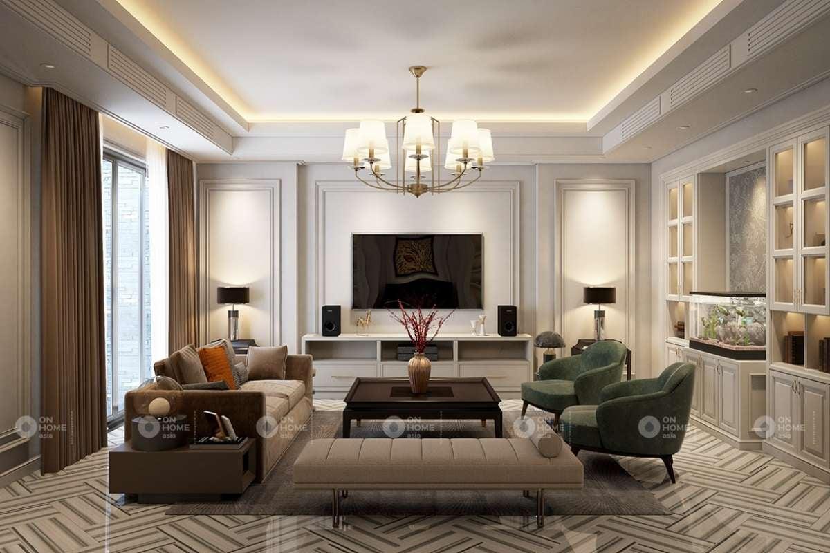 Phòng khách phong cách cổ điển sang trọng