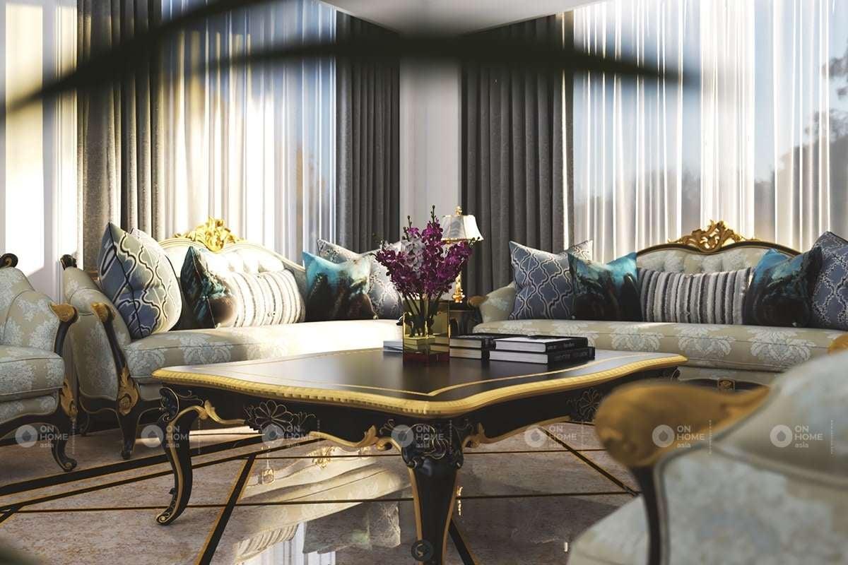 Thiết kế bàn ghế phòng khách kiểu cổ