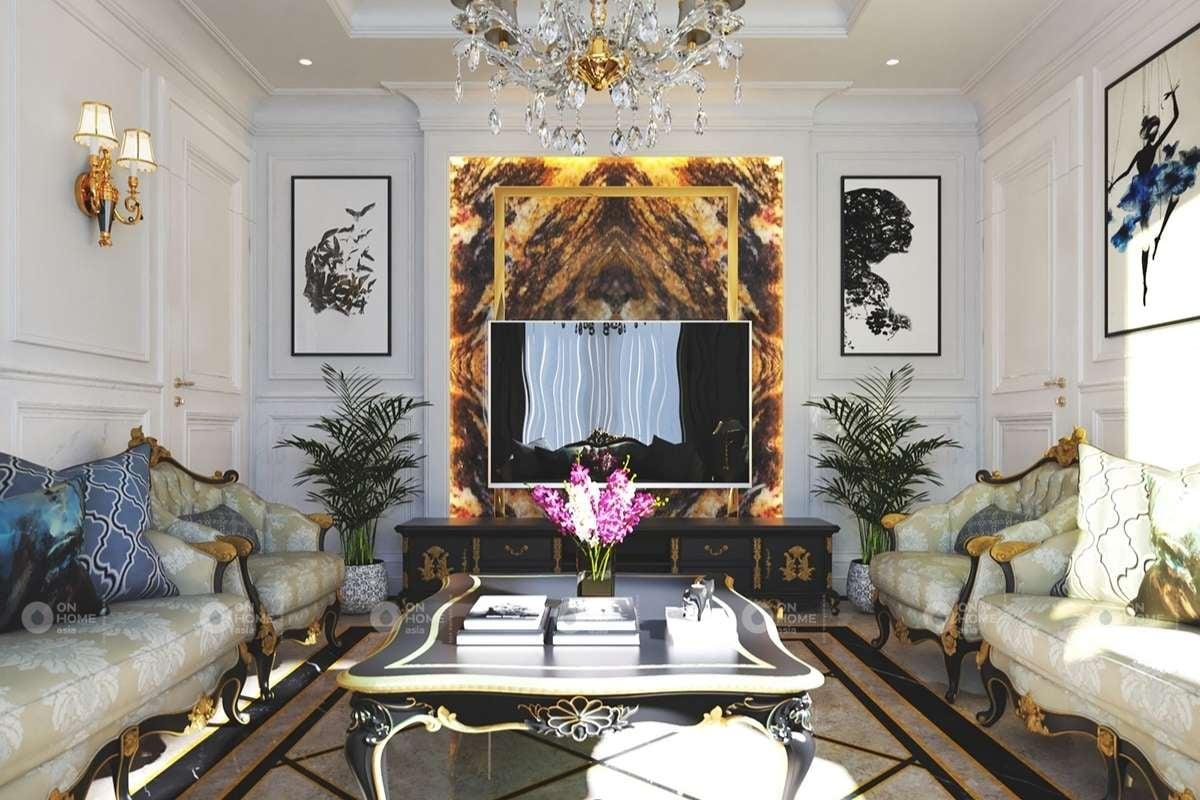 Nội thất phòng khách sang trọng với gam màu đen và vàng
