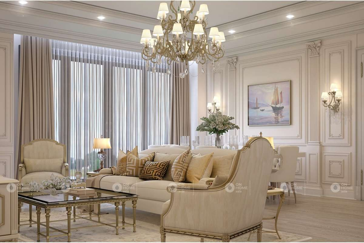nội thất phòng khách Châu Á