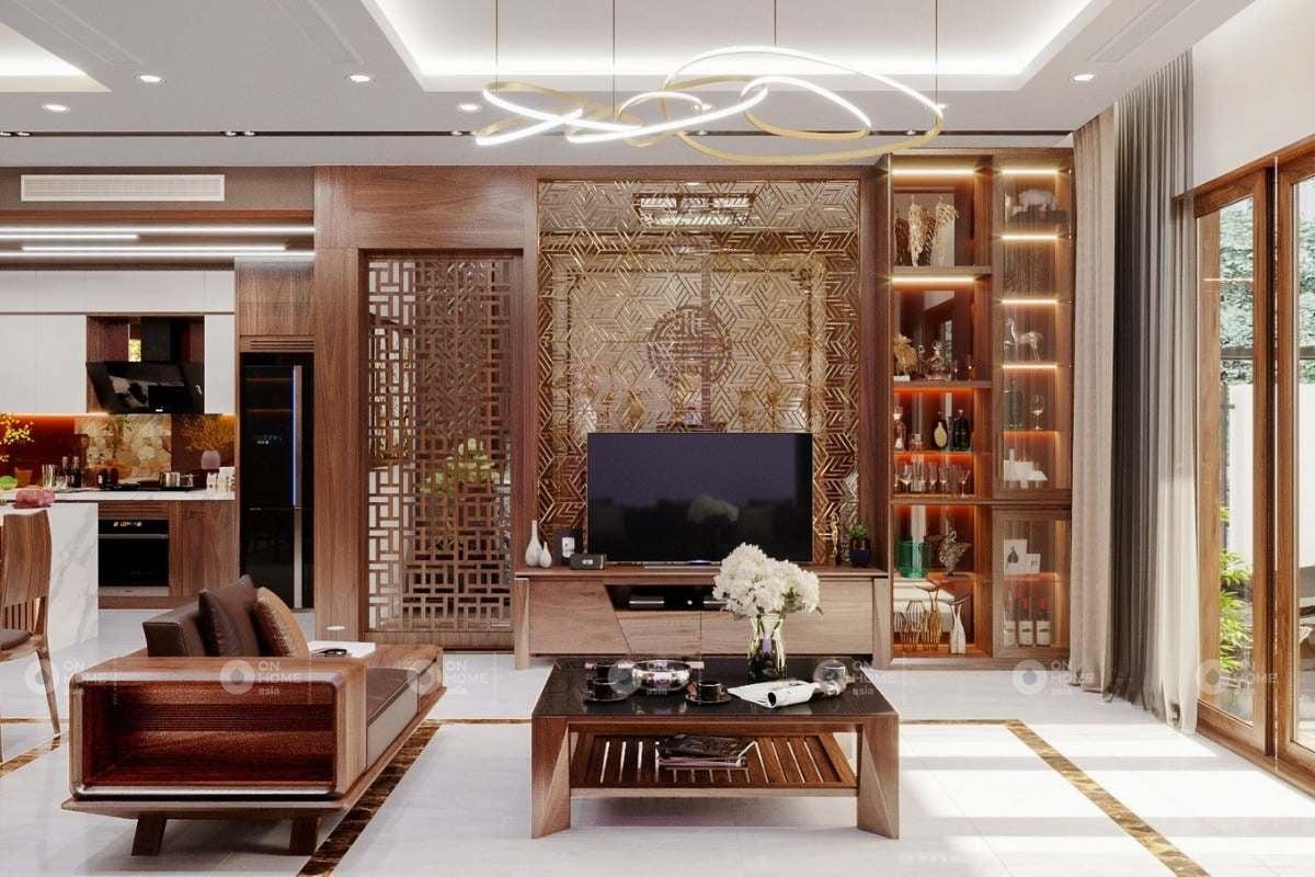Chất liệu gỗ đem lại không gian ấm cúng và sang trọng