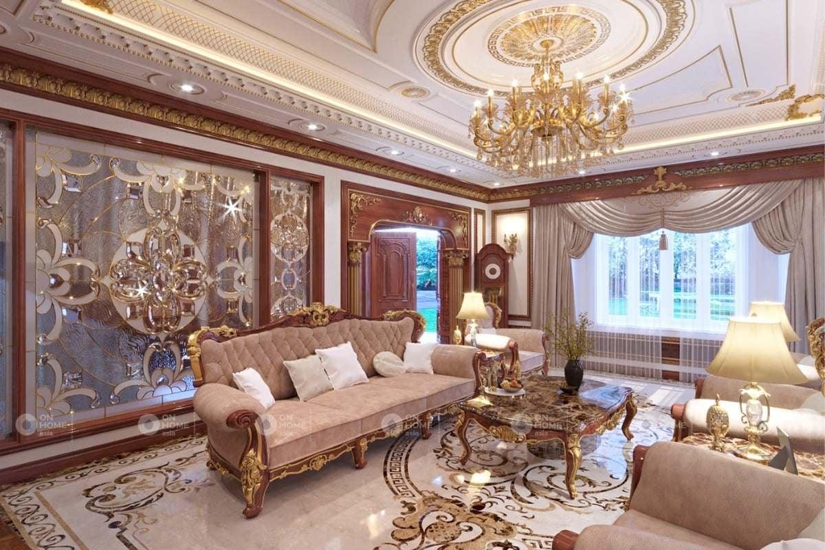 Phòng khách gỗ với các chi tiết tỉ mỉ và tinh xảo