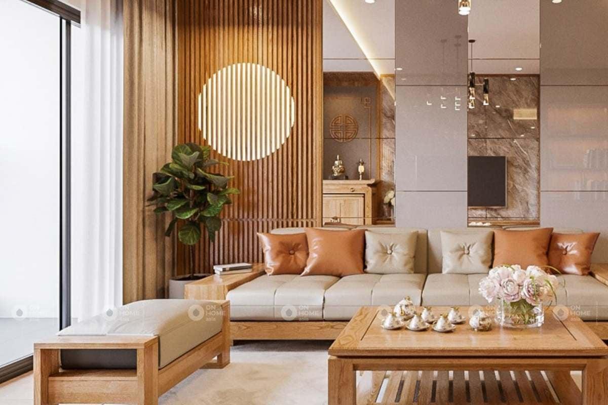 Phòng khách gỗ công nghiệp
