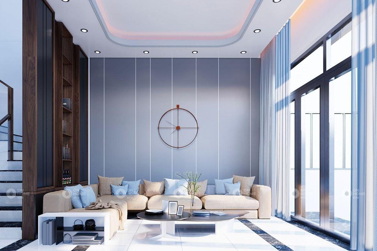 Không gian phòng khách màu xanh