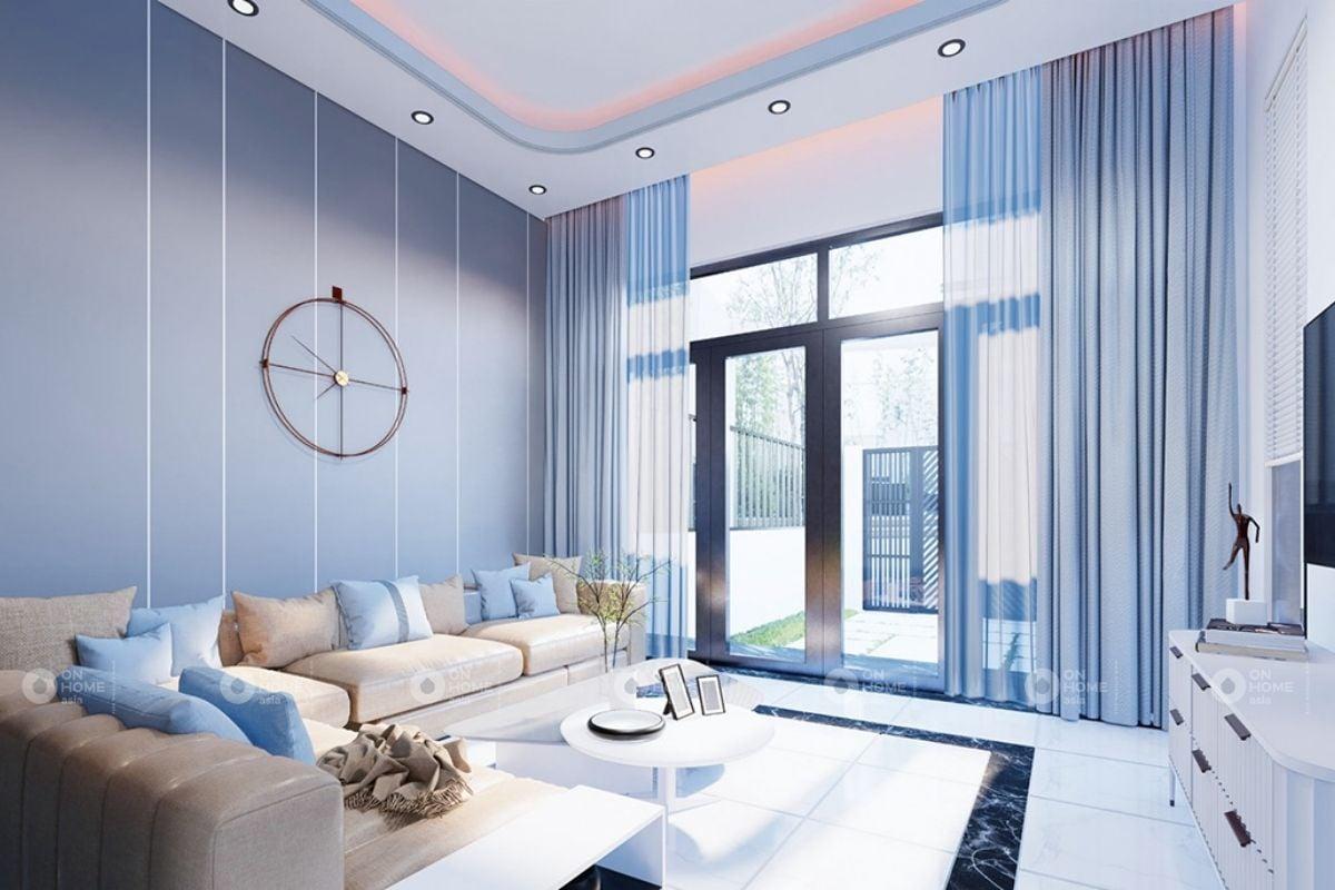 Phòng khách hiện đại màu xanh