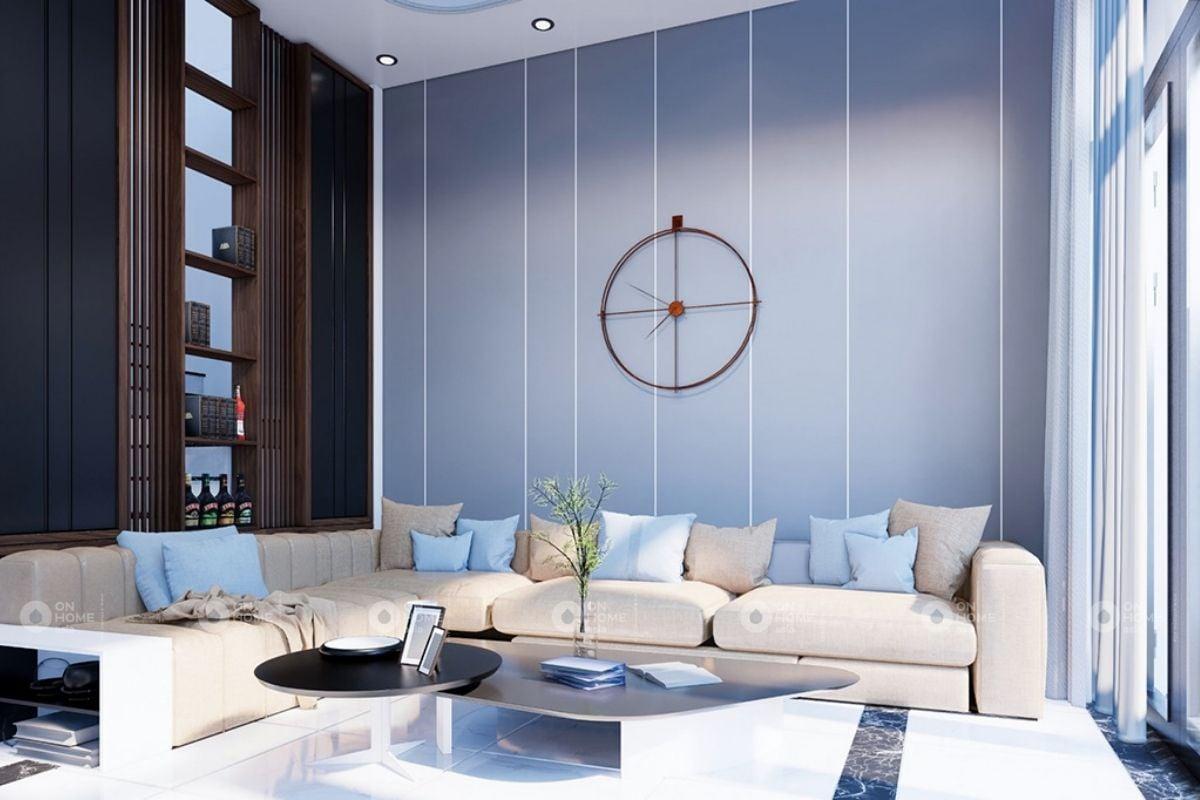 Phòng khách nhà ống màu xanh dương