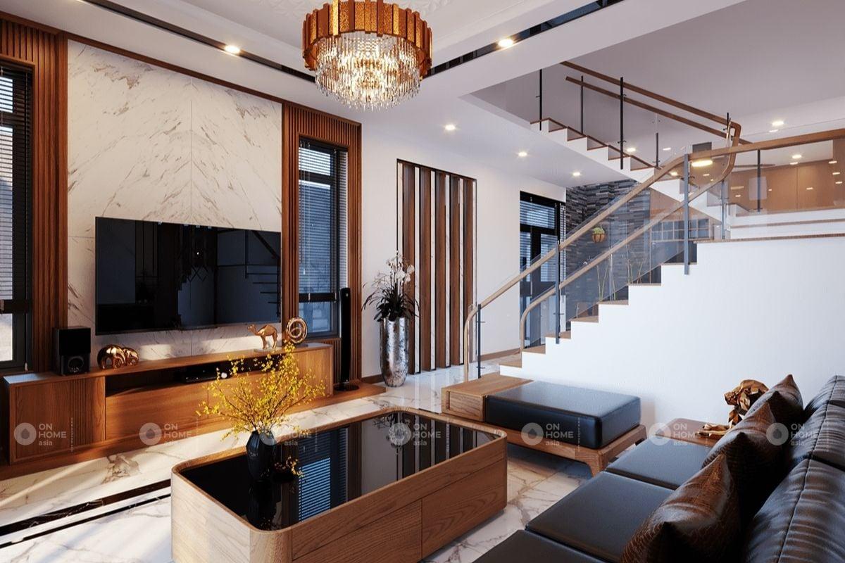 Phòng khách sử dụng ván gỗ chất lượng