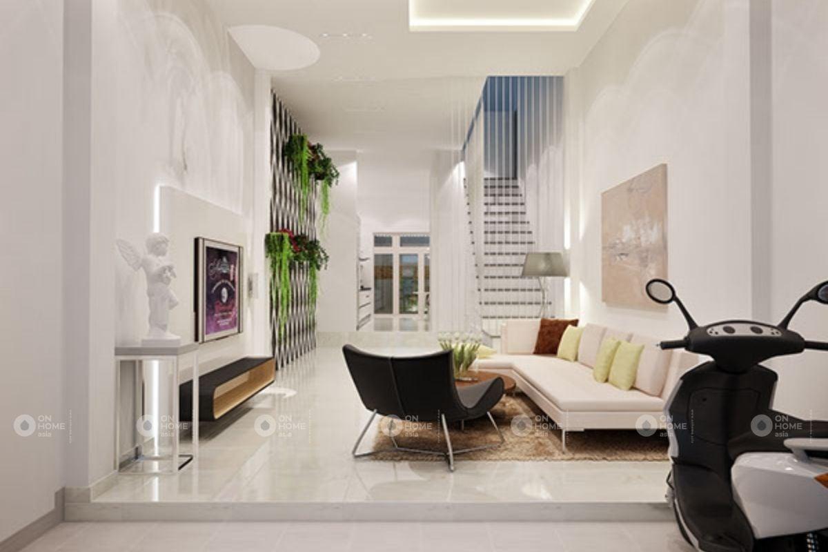 Không gian phòng khách sử dụng gam màu trắng