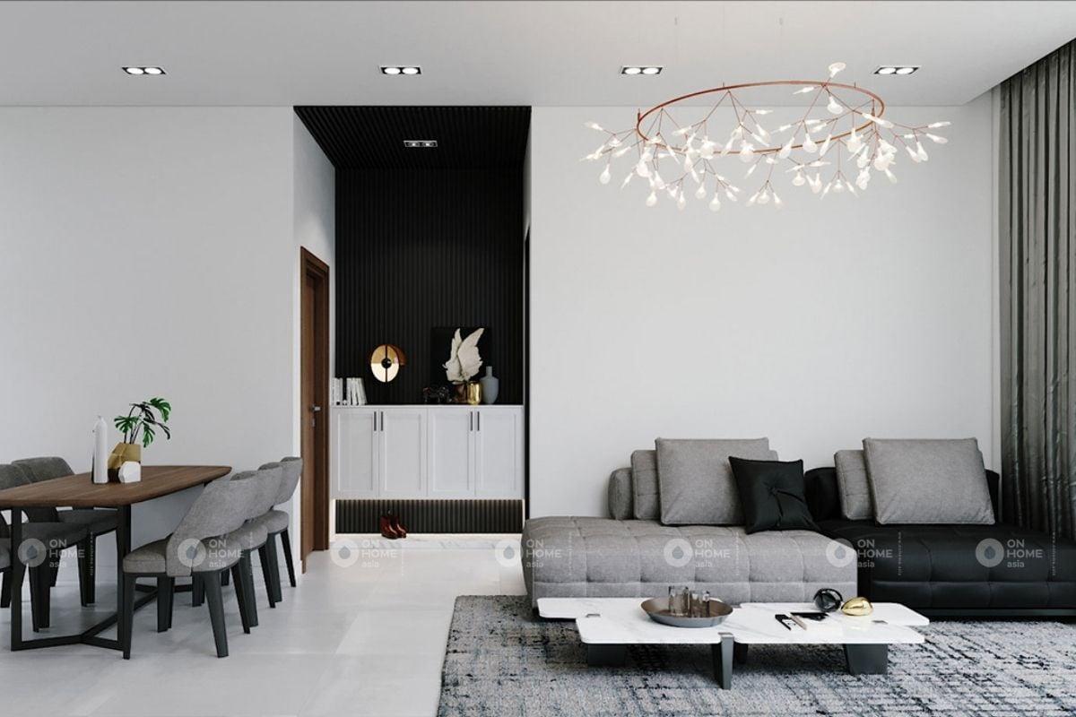 Nội thất phòng khách nhà ống màu trắng
