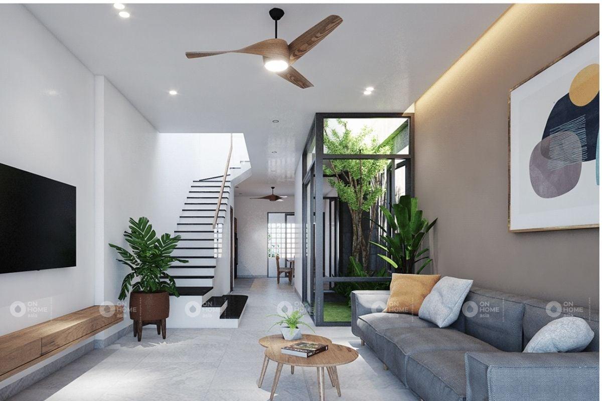 Nội thất phòng khách nhà phố tối giản