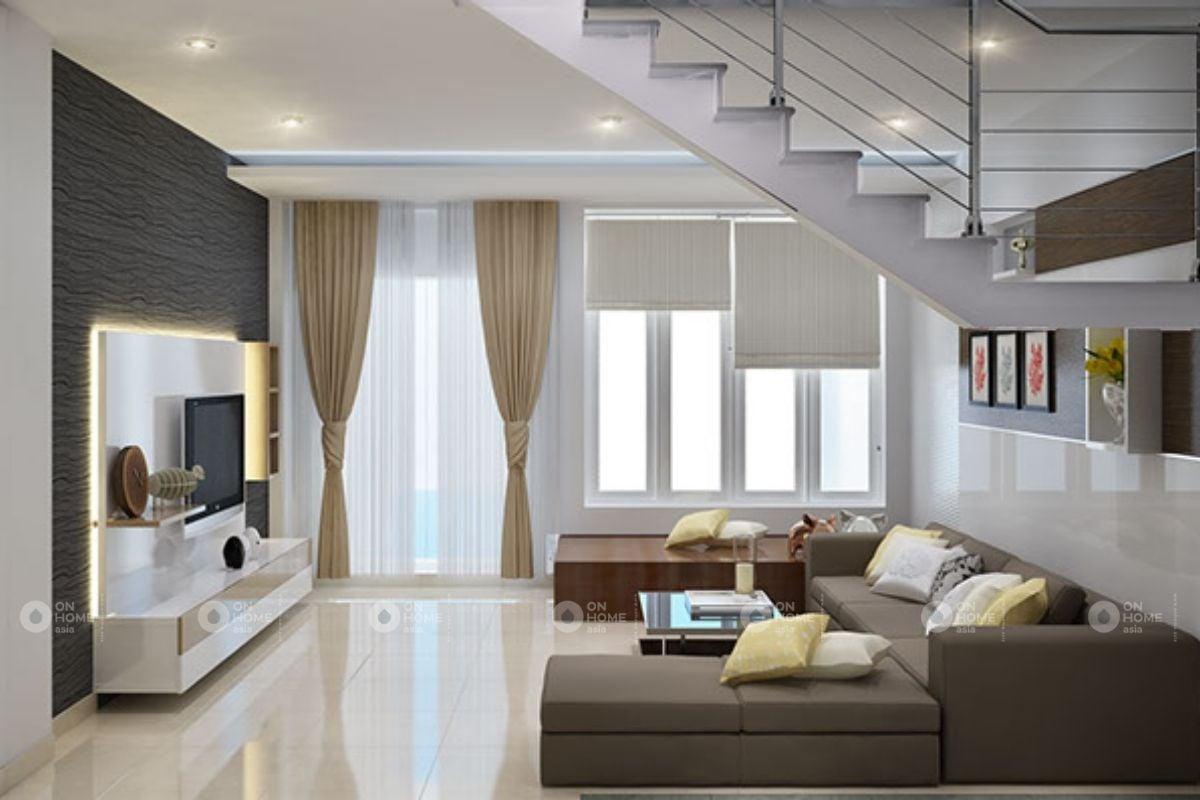 Phòng khách hiện đại với gam màu tươi sáng