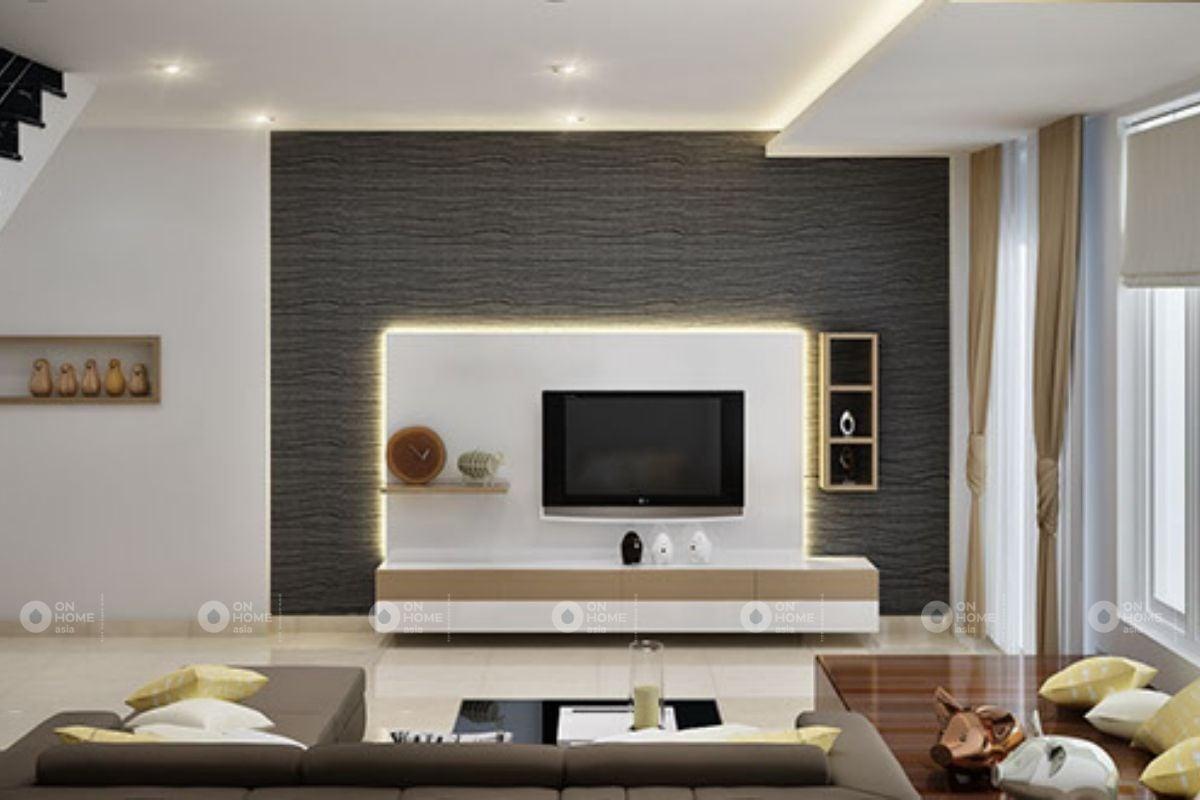Tường phòng khách nhà phố hiện đại